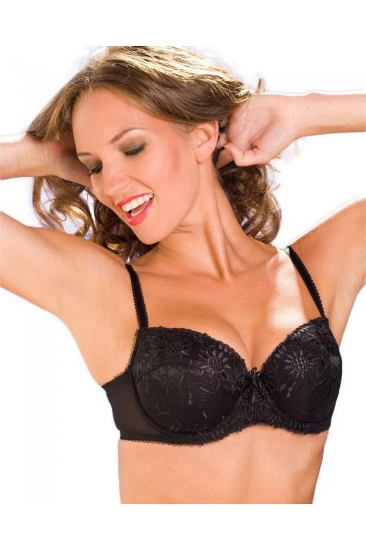 a65eee1b65 Womens Ladies Black Underwired Padded Push Up Embroidery Lace Bra 34A-40C