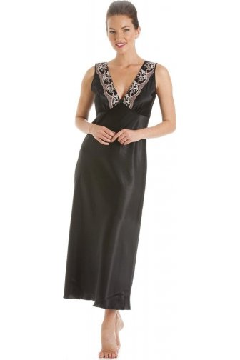 Black With Gold And Pink Embroidery Satin Chemise