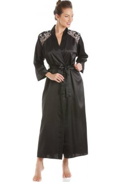 Black With Gold And Pink Embroidery Satin Wrap