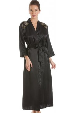 Black With Gold Embroidery Satin Wrap