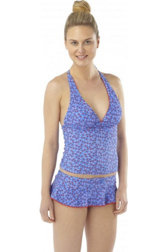 Blue And Mutli-Coloured Polka Dot Tankini Set