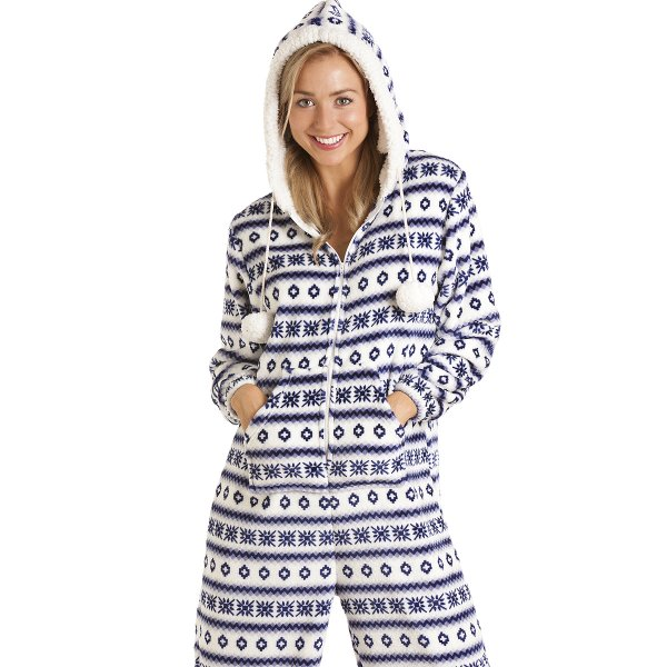 mille womens ladies luxury velvet fairisle hooded blue and white onesie pyjama 10 20. Black Bedroom Furniture Sets. Home Design Ideas
