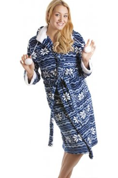 Blue And White Nordic Soft Silk Touch Bathrobe