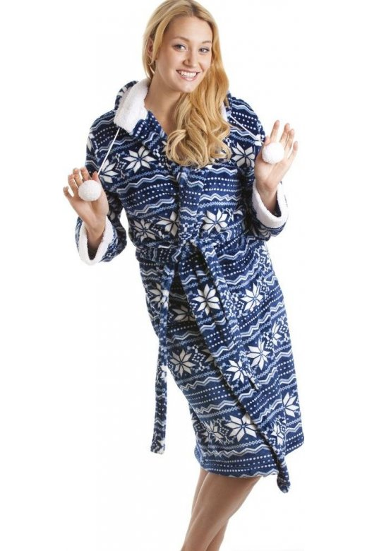 Blue And White Nordic Soft Silk Touch Robe