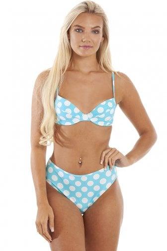 68a703ca34ca5 Blue And White Polka Dot Underwired Bikini Top