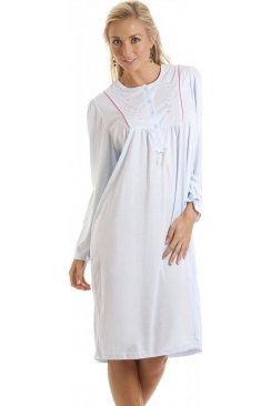 Blue Embroidered Long Sleeve Nightdress