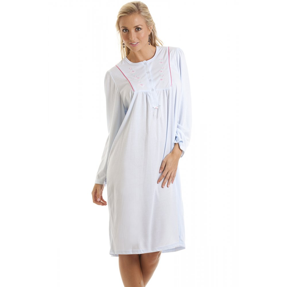 Ladies camille blue nightdress embroidered night dress