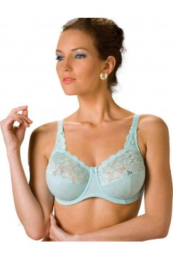 Blue Jacquard Underwired Embroidered Bra