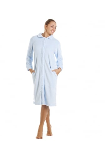 Blue Knee Length Button Up Front Fleece Housecoat