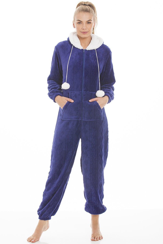 c7f2a1a9b Blue Luxury Super Soft Fleece Hooded Onesie