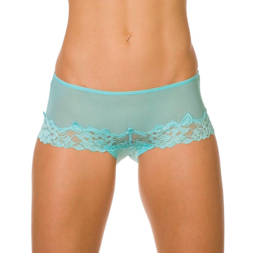 Camille Womens Ladies Underwear Light Blue Mesh Floral Lace Boxer ...