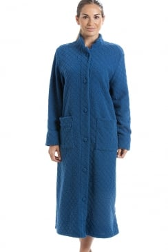 Blue Soft Fleece Floral Full Length Button Up Housecoat