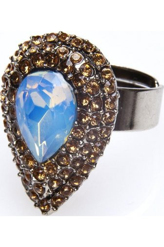 Bronze And White Opal Tear Drop Diamante Ring