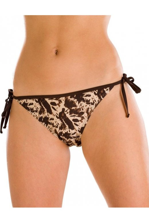 Brown And Beige Animal Print Tie Sided Bikini Bottoms
