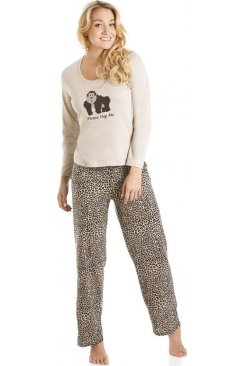 Brown And Black Gorilla Motif Full Length Pyjama Set