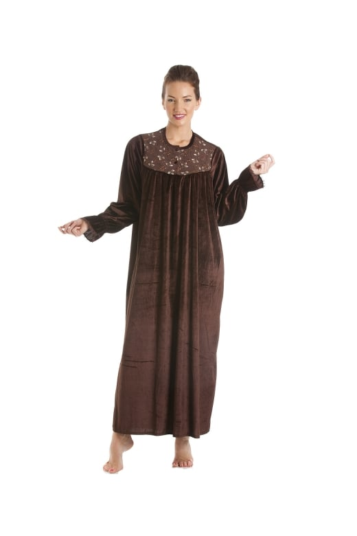 Camille Brown Full Length Velour Nightdress
