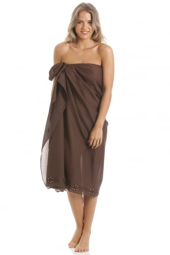 Brown Long Length Sarong With Floral Embroidery