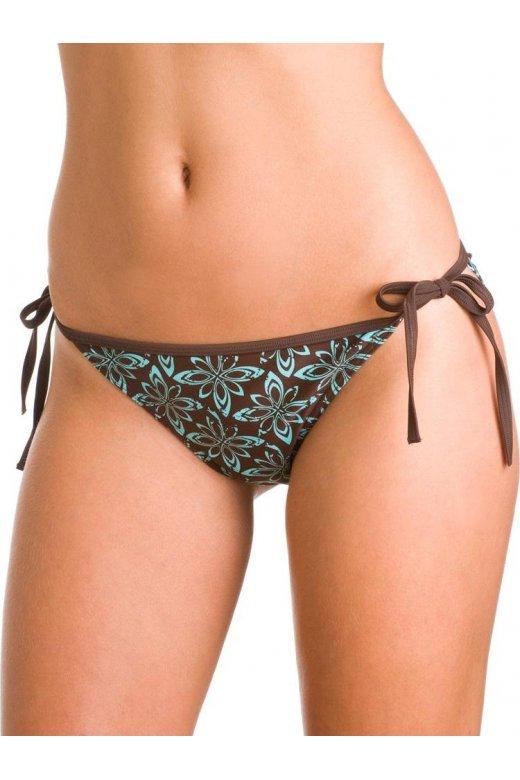 Brown Tie Side Aqua Floral Bikini Bottoms