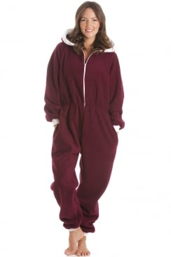 Burgundy Fleece Hooded All In One Onesie Pyjama