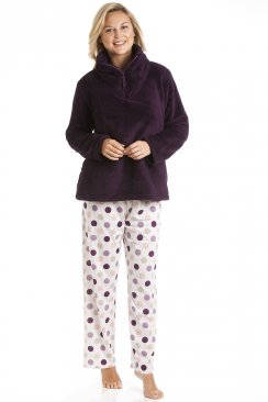 Burgundy Supersoft Fleece Top And Polka Dot Bottoms Pyjama Set