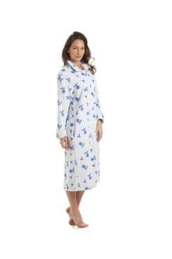 Button Up Front Flower Print Blue Gown