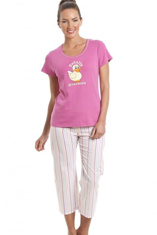 Camille 100% Cotton Duck Motif Pink Cropped Pyjama Set
