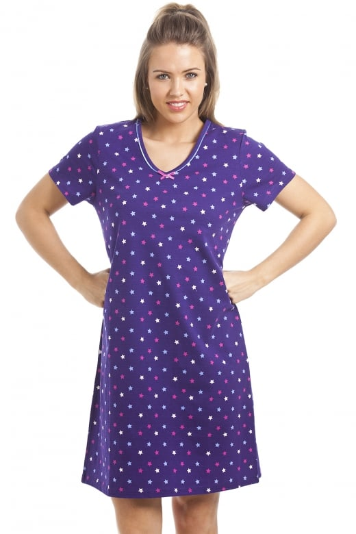 Camille 100% Cotton Multi-Coloured Star Print Purple Nightdress