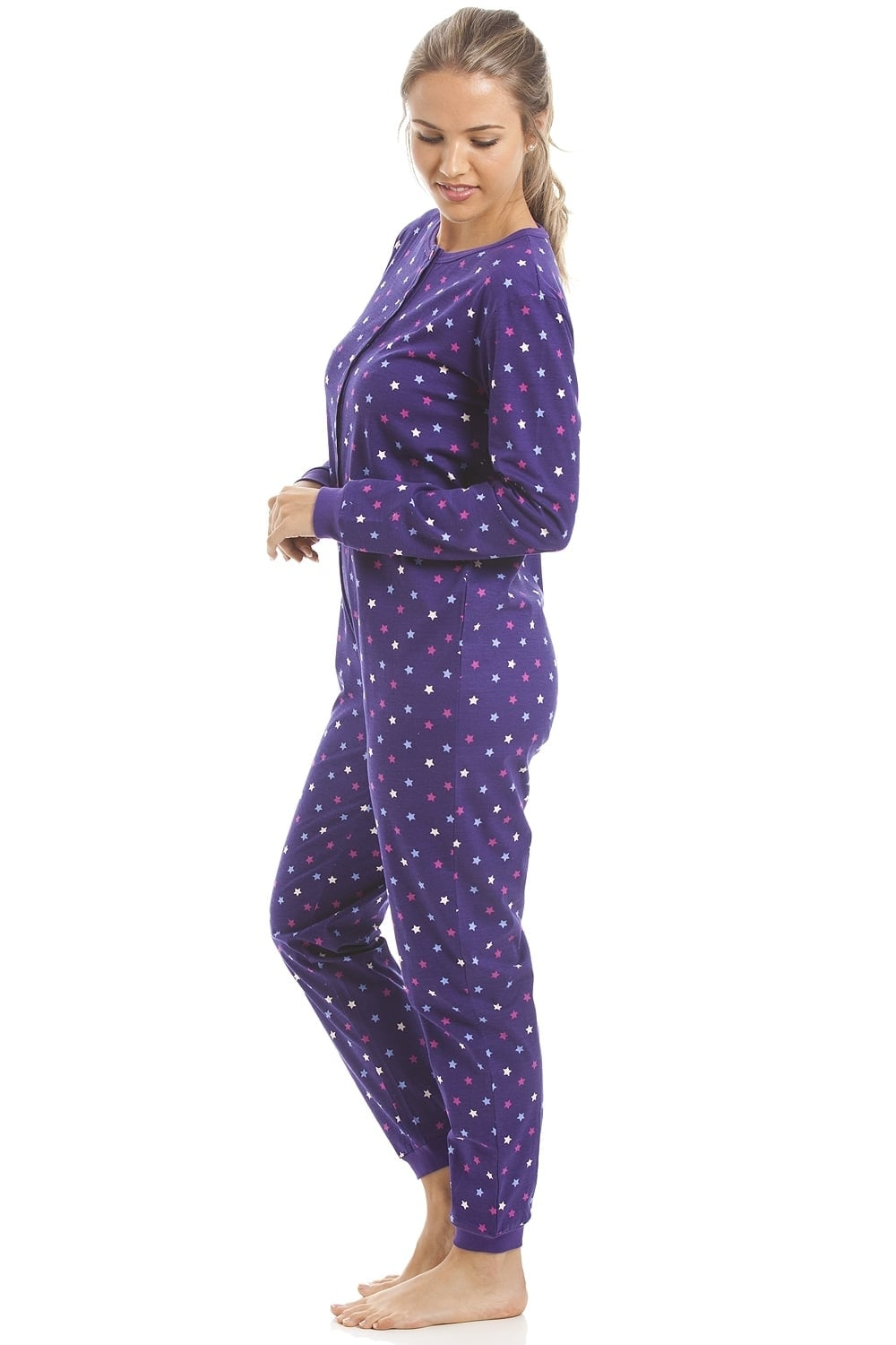 971d4c4e1dbc70 Camille 100% Cotton Multi-Coloured Star Print Purple Onesie