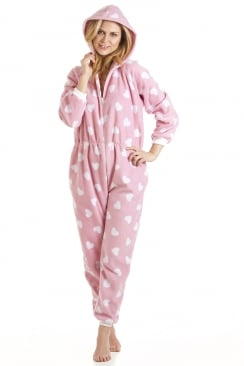 Camille Adult And Child Pink And White Heart All In One Onesie Pyjama