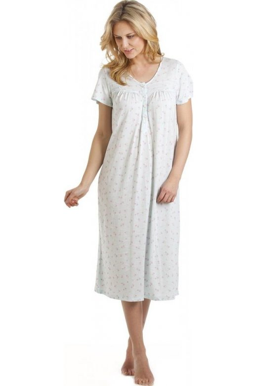 Camille Aqua And Pink Floral Button Front Nightdress
