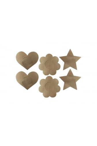 Beige Fabric Pack Of Three Assorted Shape Nipple Covers