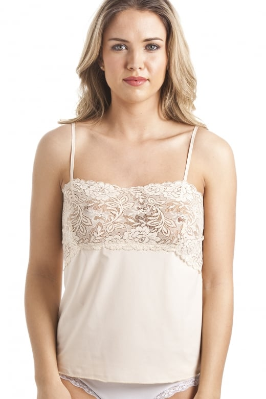 Camille Beige Floral Lace Trim Camisole Top