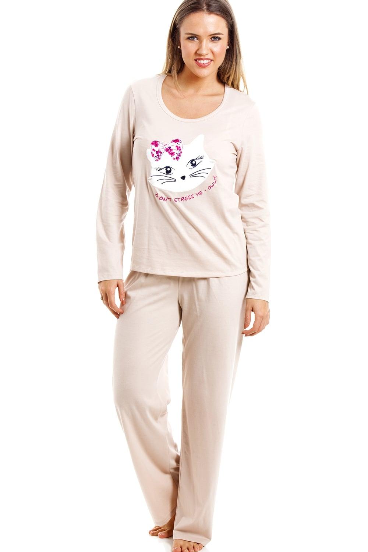 Beige Full Length Pussy Cat Motif Pyjama Set 7e3190292