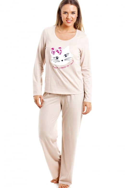 Camille Beige Full Length Pussy Cat Motif Pyjama Set