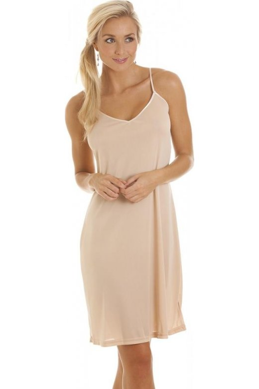Camille Beige Knee Length Full Slip Chemise