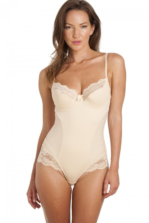 Camille Beige Lace Sexy Shapewear Support Body