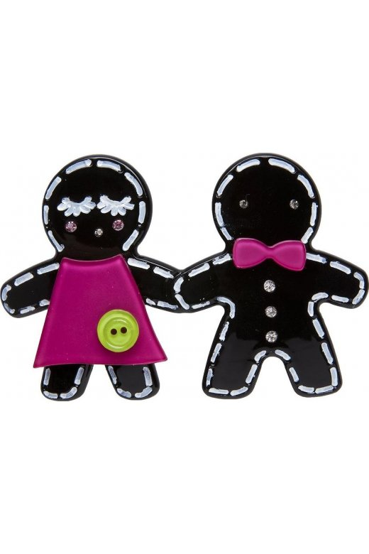 Camille Big Baby Black Gingerbread Man Brooch Pin