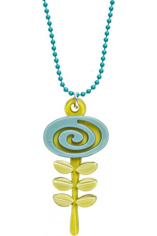 Camille Big Baby Womens Ladies Fashion Jewellery Green And Aqua Blue Acrylic Flower Necklace