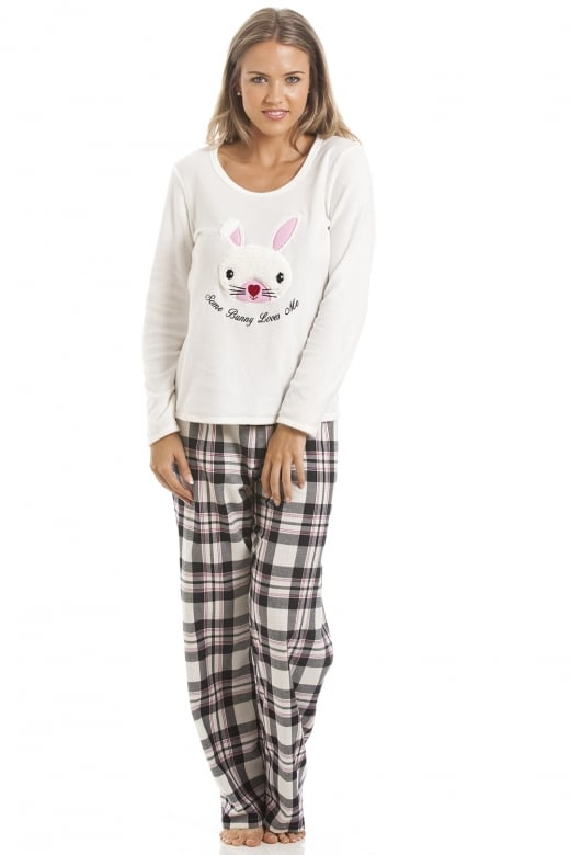 Camille Black And Cream Checkered Rabbit Motif Pyjama Set