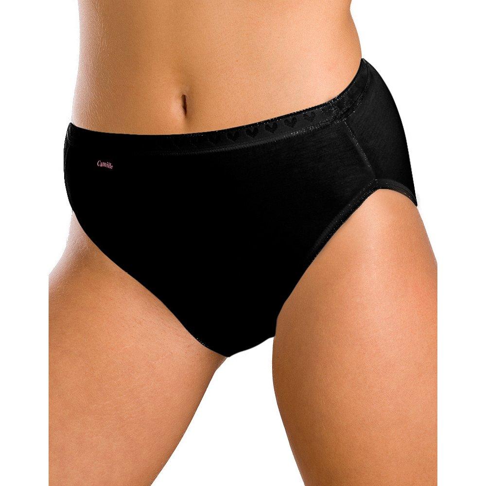 Womens Ladies Cotton Plain High Leg Briefs 4 Pack Black