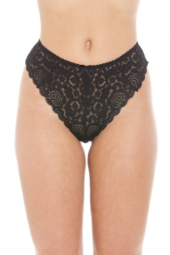 Black Floral Lace Melody Thong