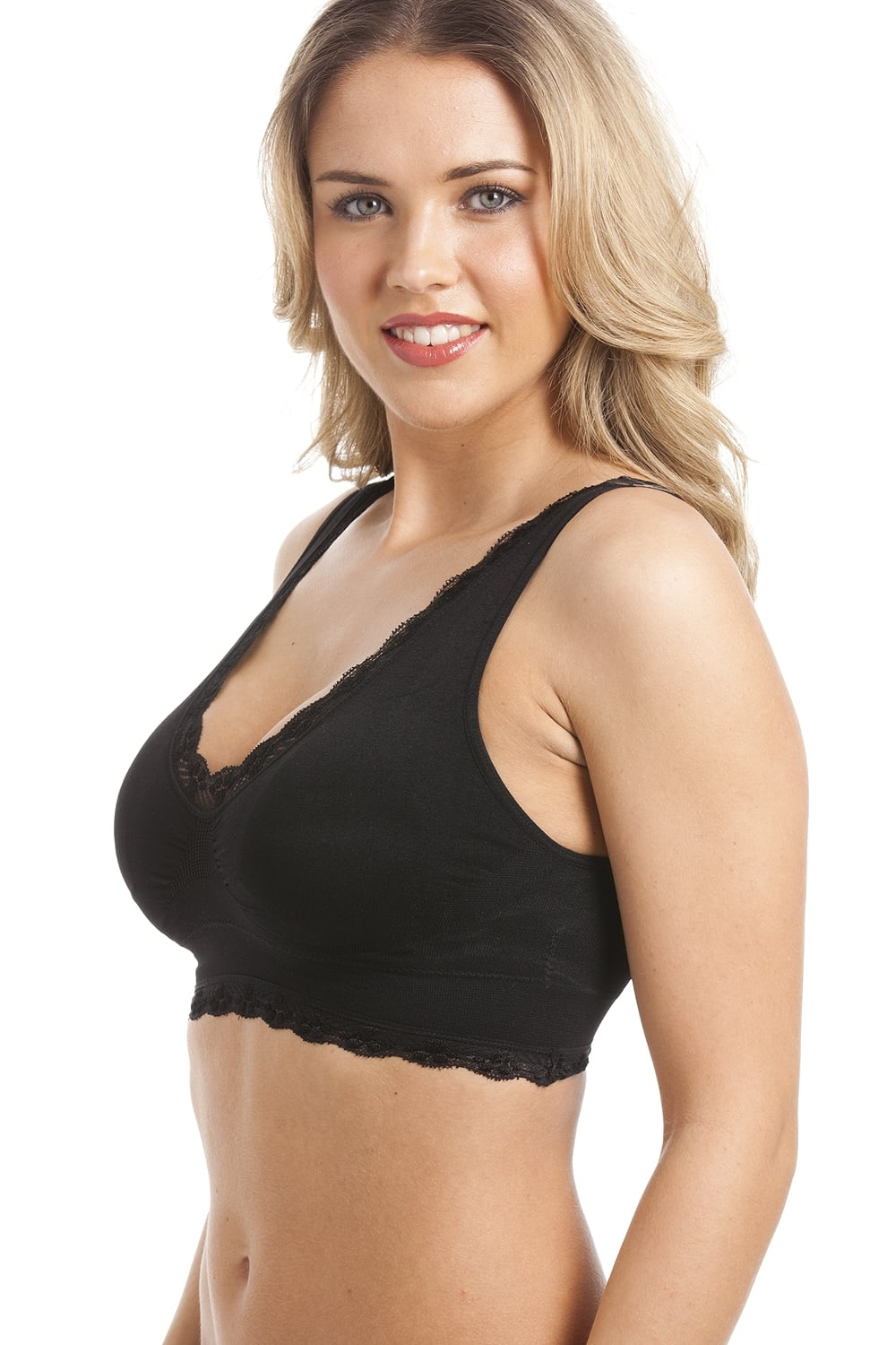 black non-wire lace trim padded comfort bra