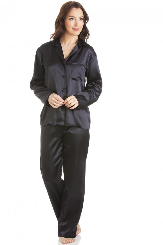 Camille Black Satin Full Length Pyjama Set