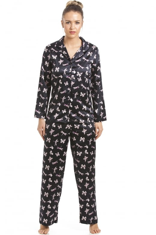 Camille Black Satin Pyjama Set With Butterfly Print