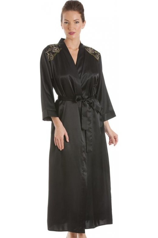 Camille Black With Gold Embroidery Satin Wrap