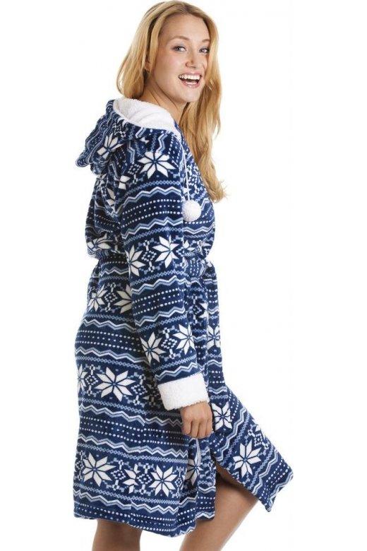 Camille Blue And White Nordic Soft Silk Touch Bathrobe 13eba026c