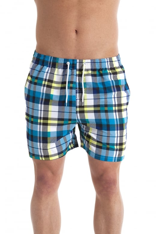 Camille Blue And Yellow Checkered Mens Swimming Shorts
