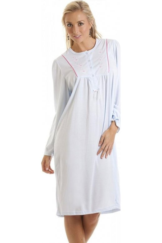 Camille Blue Embroidered Long Sleeve Nightdress