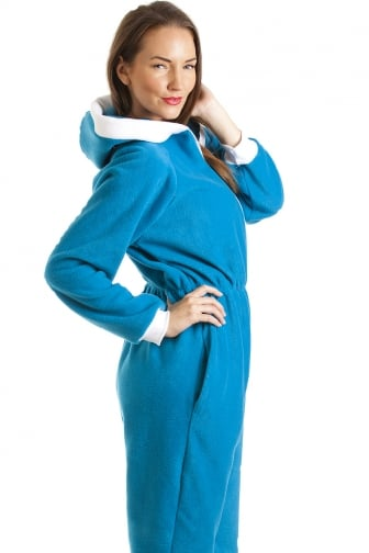 Blue Smurf Fleece Hooded All In One Onesie