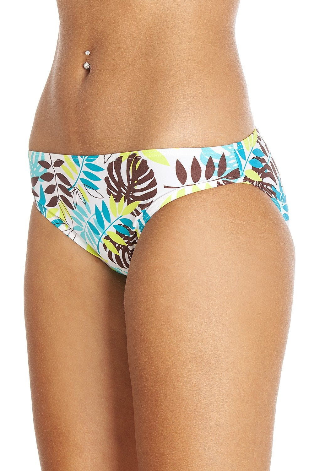 34036fc857e3ec Camille Brown Green & Blue Leaf Print White Bikini Bottoms